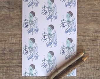 Octopus Dude Notebook, sketchbook, jotter, notepad, doodle pad, illustrated notebook.