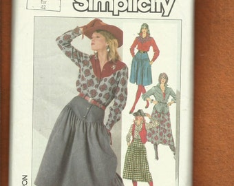 1980's Simplicity 7601 Rodeo Ready Western Shirts & Skirts Size 14