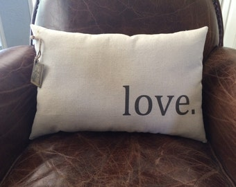 "Valentines Day / Decorative ""love."" Pillow"