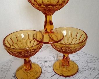 Set of 3 Vintage Amber Champagne or Wine Glasses