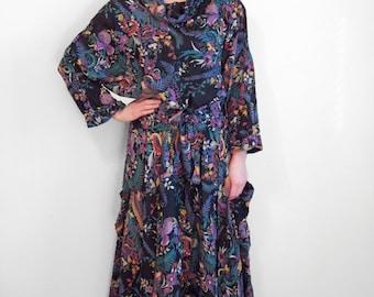 BATIK Komil Dress Indian Floral 1970s S / M Surreal Dark Garden Pockets