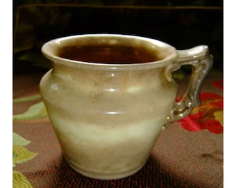 Vintage Art Deco Clay Coffee Mug Creamy Brown with Gold Leaf, Mottled and Speckled Finish, Hallmarked