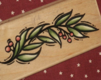 Berry Branch Rubber Stamp Wood Mounted Stampendous