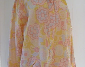 70's Lilly Pulitzer Caftan Signature Print Cotton Linen Lounger Dress L XL