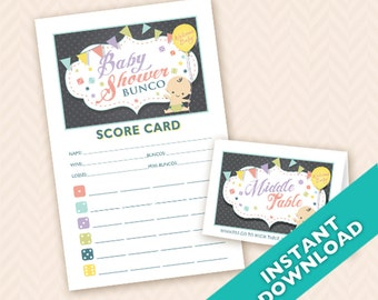 Baby Shower Bunco - Gender Neutral Printable Bunco Score and Table Card Set (a.k.a. Bunko, score card, score sheet)