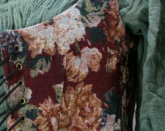 Renaissance Vest - Size 2 - Reversible - Red Lilac Floral Tapestry/Khaki Cotton Duck