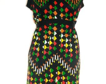 Black Dress with Geometric Design - Leslie Fay -  Vintage Size Medium