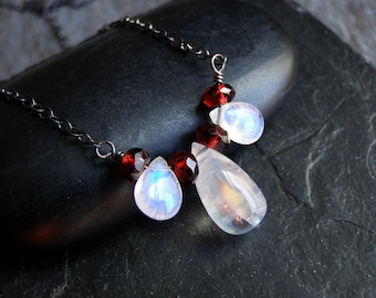 Rainbow Moonstone Necklace with Garnet on Sterling Silver - Snow Berries by Inkin on Etsy