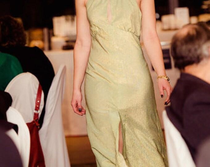 1970's Green and Gold Lamé Lurex Halter Evening Gown / Metallic Green and Gold Halter Maxi Dress / 70's Fabulous Boho Maxi Dress