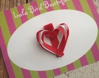 Ribbon Heart Hairclip - Toddler, Child, Baby - Red and White - READY TO SHIP