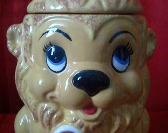 "King Lion with Crown and Lollipop Cookie Jar-Ceramic-9""Tall"