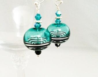 Blue and Black Lampwork Earrings - Black Swirl Lampwork Earrings - Blue Swirl Lampwork Earrings - Sterling Silver Blue Lampwork Earrings