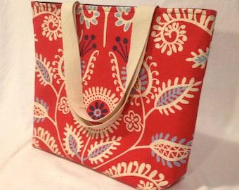 Reversible Tote Bag Red Modern Paisley | Market Tote | Beach Bag | Red Tote | Reversible Bag | Teacher Tote | Market Bag | Canvas Tote