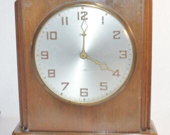 Rex Clock 8 Day Vintage Mantel Shelf Mantle Wind Desk Movement Up Antique  Art Deco Not Working