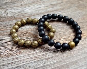 Men's Bracelet Black and Brass