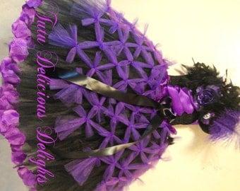 Purple And Black Tutu Dress~ Pageant Dress ~ Flower Girl Tutu Dress ~ Birthday Tutu ~ Knotted Tutu Dress ~ Full length tutu ~ photo prop