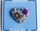Tape Measure Brooch - Heart Resin All Colours Craft Sewing Jewellery Handmade