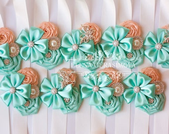 Corsage wrist for mint peach brooch bouquet