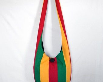 SALE Cross Body Bag Hobo Bag Sling Bag Hippie Purse Stripes Rasta Hobo Bag Boho Bag Rasta Hippie Purse Hobo Purse Rasta Colors Slouch Purse