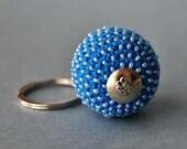 Crochet Ball Keychain , Key chain, Crochet Bead Keychain, Blue Keychain