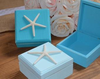 Starfish Box, Starfish Jewelry Box, Beach Theme Jewelry Box with Starfish