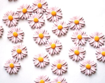 10 Sunflower Cabochons - Lilac Resin - 21mm - Ships IMMEDIATELY from California - C244