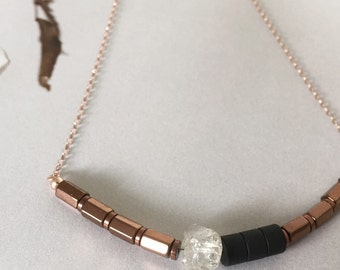 Herkimer Diamond Necklace : Herkimer Diamond with Matte Onyx and Copper Hematite on Rose Gold-filled Necklace, gifts for her, bridesmaid