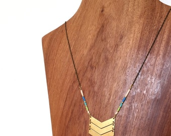 SALE Geometric Necklace : Summer Jewelry - Beaded Chevron Brass Necklace
