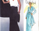 PATTERN Vogue 1562 Jumpsuit with blouson bodice loose fit flared leg and scarf Size 14 Edith Head American Designer Original (uncut)