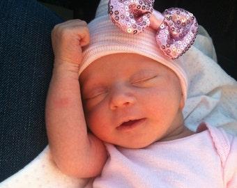 First Bow Newborn Hospital Hat Pink Sequin Dazzle Bow (newborn girl hat, newborn beanie, newborn hospital hat with bow, first bow)