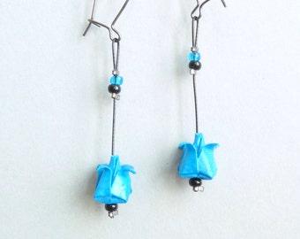 Bright blue Lotus flower Origami earrings