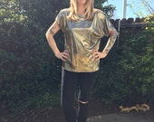 1980s MED metallic GOLD disco light blouse