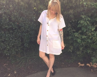 1980s LRG white crinkled cotton Tunic cover up top