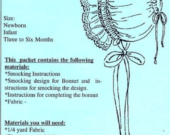 Smocked Baby Bonnet Pattern by The Old Fashioned Baby