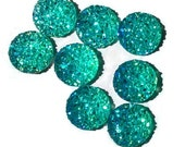 12mm AB Aqua turquoise round cabochon - Faux druzy cabochon - Faux drusy cabochon - Textured cabochon (1509) - Flat rate shipping