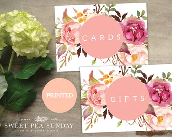 PRINTED 5x7 Wedding Signs. Watercolour Feather Printable 5x7. Cards Sign. Gifts Sign. DIY, Wedding Ceremony, Guest Book Sign, Cards Box Sign