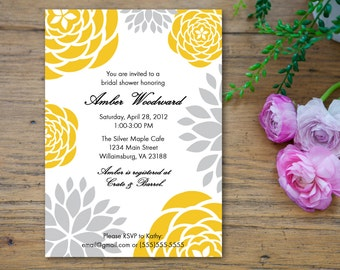Yellow and Gray Grey Bridal Shower Invitation - customized 5x7 printable - modern flower print yellow and gray bridal shower invites