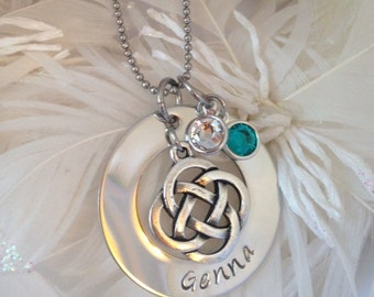 Personalized Celtic 'Eternity Knot' Necklace with Birthstones