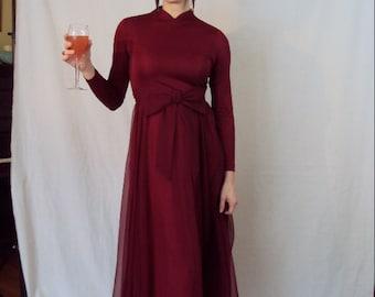 Red Wine Maxi Dress 1970s S/M