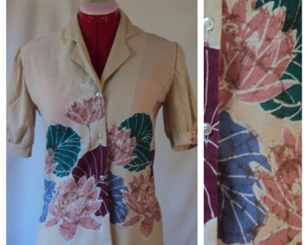 Water Lily Short Sleeve Blouse 1970s S/M