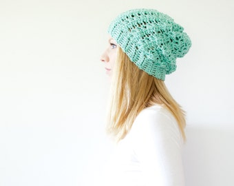 the SUMTER hat - Slouchy hat beanie crocheted - sea foam - acrylic