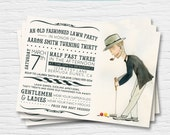 Croquet Lawn Party Birthday Invitation- 5x7- Old Fashioned Croquet Jenga- Digital Printable File - Cardstock