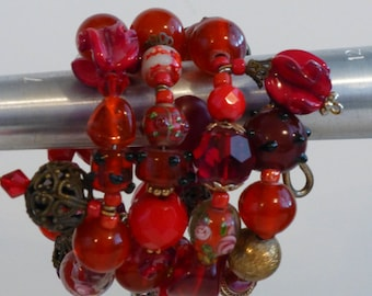 Brilliant Shades Of Red Vintage Beads & Buttons Wrap-Around Bracelet