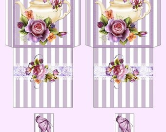 Digital Tea Bag Envelope Teapot and Roses