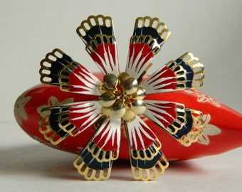 Fabulously Pretty 1960s Painted Enamel 3D Flower Brooch- Big Bold Red White Blue Striped Gold Tone Elegant Lightweight Funky Cutout