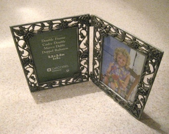 Vintage metal double photo frames.    Filigree.  Floral.