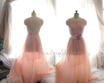 Airy Pastel Coral Pink Dainty Dress,Maxi Backless Dress,Long Lace Chiffon Gown Dress,Wedding Bridal,Women's Fashion Goddess Marie Antoinette