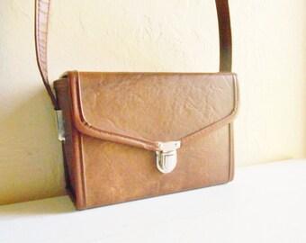 Vintage Brown Faux Leather Camera Case Bag Lined