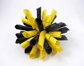 Black and Yellow Korker Hair Bow  -  Yellow Korker Hair Clip - Black Korker Hair Clip - Korker Hair Bow - Korker Hair Clip - Black - Yellow