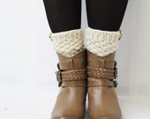 Cream Boot Cuffs with button, Knitted Boot Cuffs, Boot Toppers, Chunky Leg Warmers, Winter Accessories, Cream Legwear, Tweed Knits, Cuffs